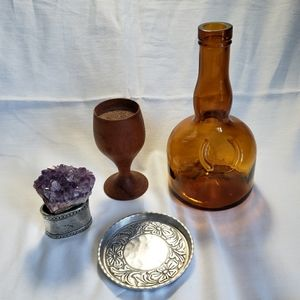 Vint Boho Shelf Decor Crystal Bottle Wood Silver